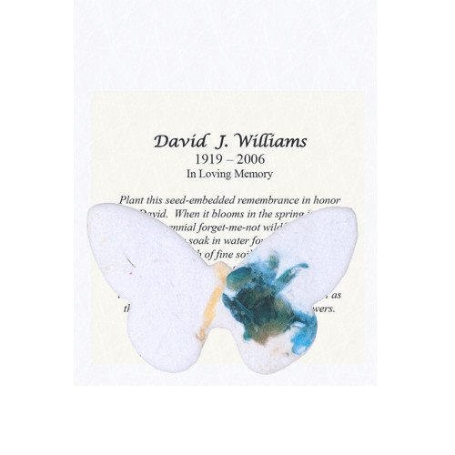 Plantable Seed Paper Shapes with Personalized Memorial Inserts (100 Count) (Butterflies)