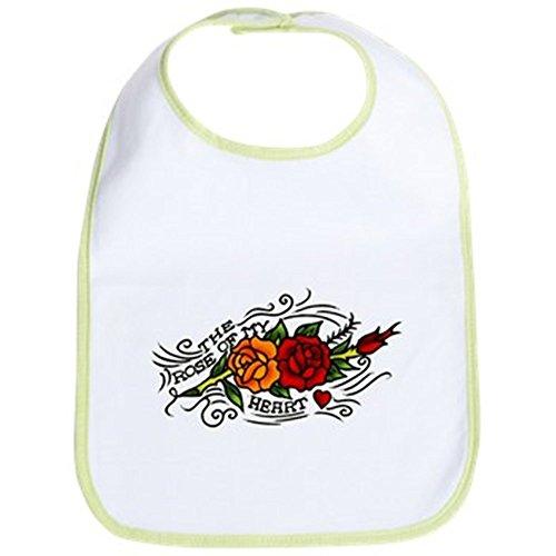 CafePress - Vintage Rose Of My Heart Tattoo Art Bib - Cute Cloth Baby Bib, Toddler (Rose Heart Tattoo Designs)