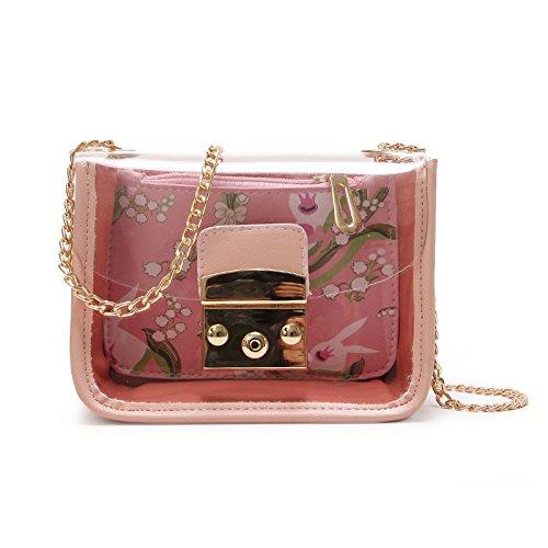 Jalea La De incense Pink Cadena Cerradura Transparente Amarillo Hombro Hombro De Woman Bolsa Bolso Mujer Bolsa De Pequeña 6H6Yn0A
