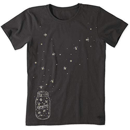 Life is Good. Womens Crusher Tee - Floating Fireflies - Night Black, - Sleeve Short Crusher