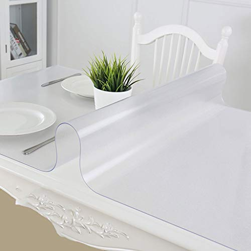 QBY Multi-Size 3.0 mm Crystal Clear Table Cover Protector Waterproof PVC Table Pad Table Rectangular Vinyl Non-Slip Desk Mat (Size : 60120cm)
