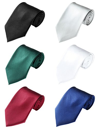 LilMents 6 Pack Mens Classic Plain Solid Color Formal Necktie Tie Set (Set A) by LilMents (Image #8)'