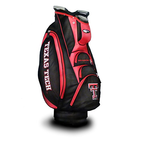 Team Golf NCAA Texas Tech Red Raiders Victory Golf Cart Bag, 10-way Top with Integrated Dual Handle & External Putter Well, Cooler Pocket, Padded Strap, Umbrella Holder & Removable Rain Hood ()