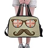 Overnight Bag British Flag Glasses and Mustaches Weekend Travel Bag for Unisex Duffel