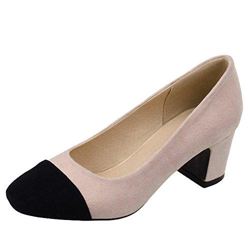 Carolbar Orteil Femme Couleurs Assorties Talon Moyen Pompes Chaussures Beige-rose