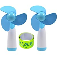KLOUD City 2 Pcs Blue Personal Hand-held/Portable Battery Operated Mini Air Fan for Home and Travel Plus 1 pcs reflective snap / pop armband / leg band / ankleband / tape / strap
