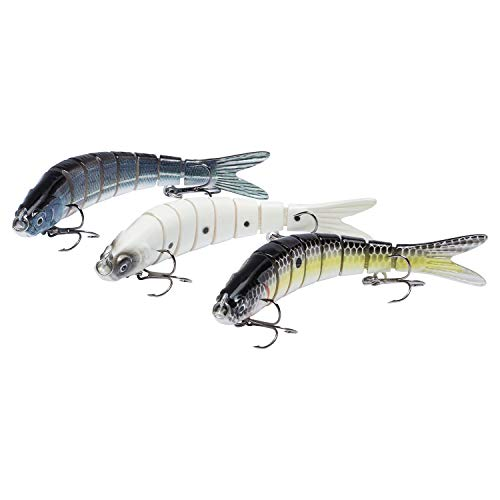 Bassdash Swimbaits Pike Trout Glide Baits Minnow Hard Bass Fishing Lure 3.9in/7.2in/8in, SwimMinnow - 3.9in/0.4oz - Pack of 3 Colors (FLS)