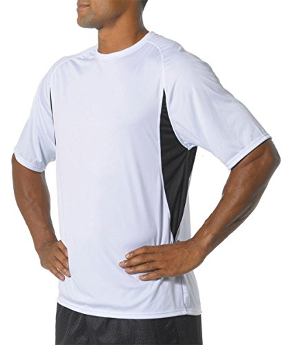 A4 Men's Cooling Performance Color Block Short Sleeve Tee, White/Black, X-Large