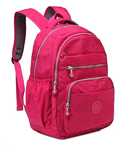 Imperial girl Nylon Casual Lightweight Backpack, Waterproof and Tear-Resistant, Compatible Laptop Backpack for Boys, Girls, Teenagers and Adults Cycling Hiking Camping Travel Outdoor (Rose red) (Imperial Backpack)