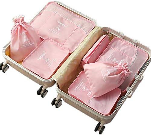 7ピースパッキングキューブナイロン防水旅行荷物オーガナイザースーツケースパッキングキューブ旅行荷物袋パッキングオーガナイザー,ピンク