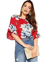 ROMWE blusa de manga suelta con estampado floral, para mujer