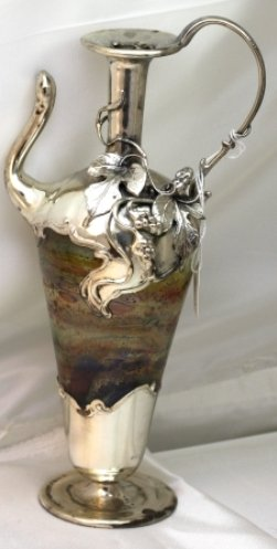 Vase Sterling - Decorative Bottles, Vases Mouth Blown Glass and Sterling Silver 9.5
