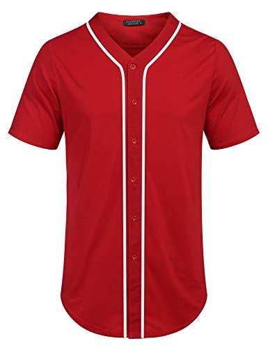 COOFANDY Men's Mens Baseball Button Down Team Jersey Hipster Hip Hop T Shirts Red