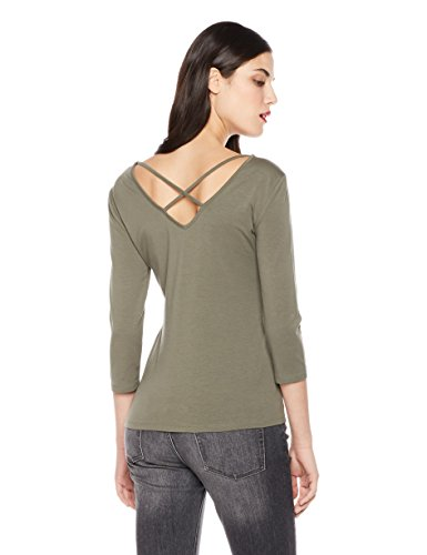 Mariella Bella Women's 3/4 Sleeve Criss Cross Front Back Neck Line Knit Top