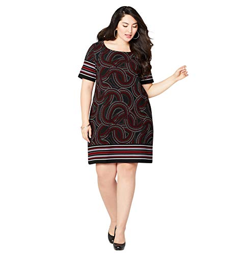 Swirl Border Dot (Avenue Women's Dot Swirl Border Sheath Dress, 26/28 Red)