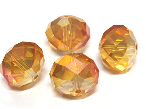 5 beads - Beautiful Large 16 mm size Faceted rondelle shape golden honey color AB shiny crystal glass beads - AB053 (Round Beads Facet 16mm)