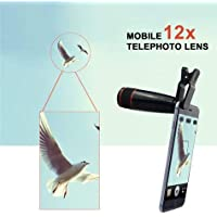 Danu Universal Optical Zoom Telescope Lens for Mobile with Adjustable Clip Compatible with Redmi Note 5 Pro (12X Zoom)