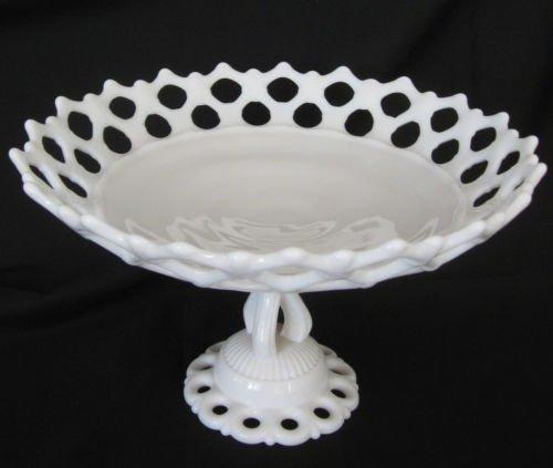 Vintage Westmoreland White Milkglass Doric Lace Edge Pedestal ()