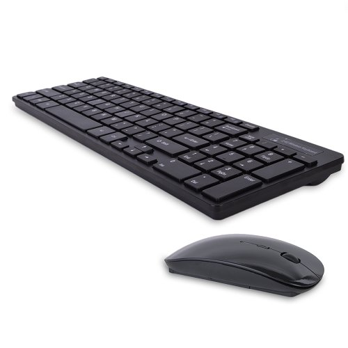 2.4GHz 95-Key Wireless Ultra Low Profile Spill Resistant Multimedia Keyboard & Optical Mouse Kit (Black) consumer electronics Electronics