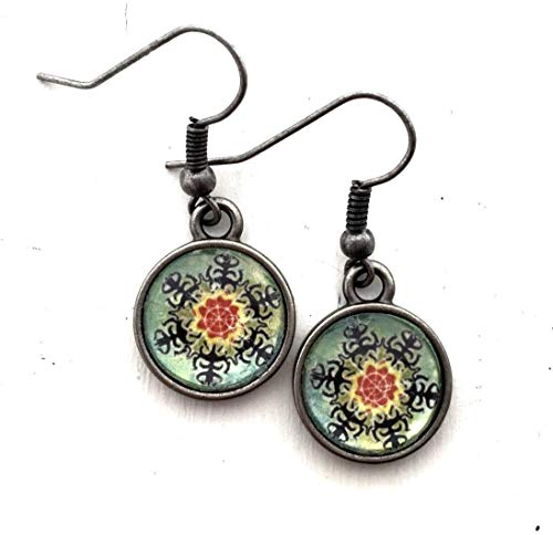 Glass Dome Christmas Earrings Cabochon Dangle Xmas Theme Collage Jewelry ()