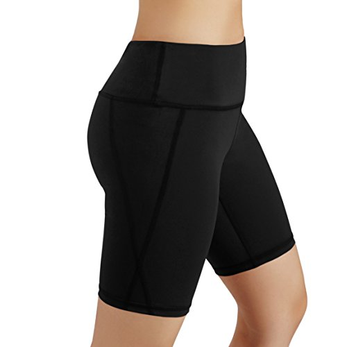 ODODOS by Power Flex Women's Tummy Control Workout Running Shorts Pants Yoga Shorts With Hidden Pocket, Black, XX-Large