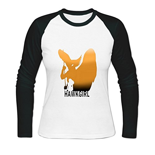 Womens Cotton HawkGirl Long Baseball T-shirts L (Hawkgirl T Shirt)