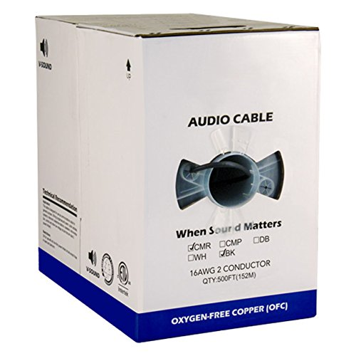 Audio Cable, 16AWG, 2 Conductor, 65 Strand, 500 ft, PVC Jacket, Pull Box, Black by Vertical Cable