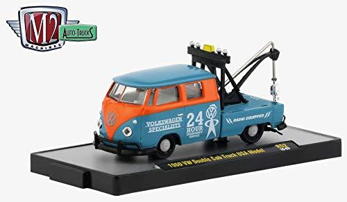 - M2 Machines 1960 VW Double Cab Truck USA Model (Dove Blue & Orange) Auto-Trucks Series Release 52 - 2019 Castline Premium Edition 1:64 Scale Die-Cast Vehicle (R52 18-63)