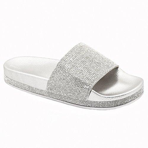 Trends SNJ Women's Glitter Rhinestone Strap Slide Slip On Slipper Sandals