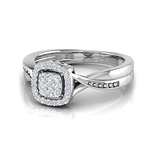 Or blanc 14K, 0,19carat Diamant Taille ronde (IJ | SI) en diamant