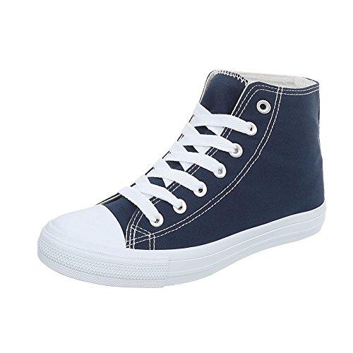 Chaussures De Sport-design Italien Haut Femmes Lacets Sport Bleu Fonc
