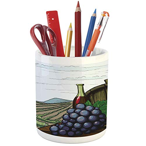 Pencil Pen Holder,Wine,Printed Ceramic Pencil Pen Holder for Desk Office Accessory,Landscape with Views of Vineyards Grapes Leaves Drink Barrel Agriculture Field Farm Decorative