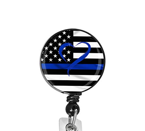 Blue Line American Flag Nurse Badge ID Card Name Tag Custom Badge Holder Nurse Decorative Badge Reel Clip on Card Holders Badge Clip (Badge Holder Flag)