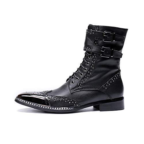 LOVDRAM Zapaños De Cuero para Hombre Men Martin botas Genuine Leather Men Rivet zapatos Mid-Calf botas Male Low Heels Men Motorcycle Buckle botas negro