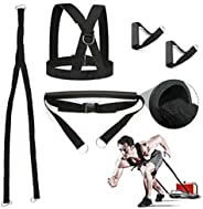 Sunsign Exercise Bands 5-Pcs Weight Sled Harness Kits Sled Pulling Strap for Running Sprinting Football Ice Fi