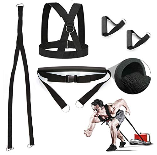 (Sunsign 5-Pcs 6.6FT Weight Sled Harness Kits Sled Pulling Strap for Running Sprinting Football Ice Fishing Power Pulling Resistance Speed Agility Training)