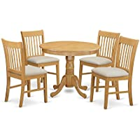 East West Furniture ANNO5-OAK-C 5 Piece Small Kitchen Table and 4 Chairs Set