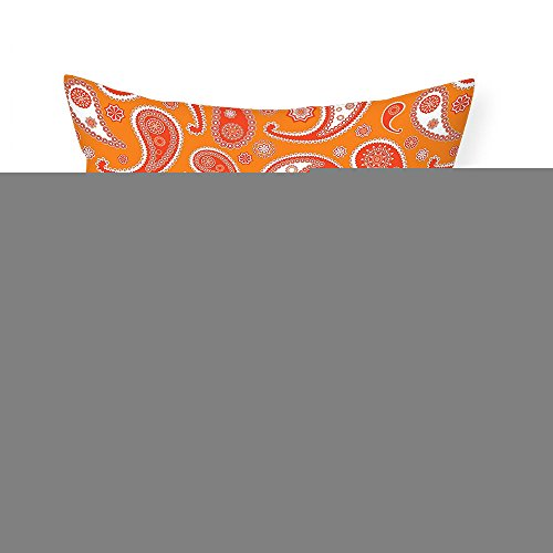 VROSELV Custom Cotton Linen Pillowcase Burnt Orange Decor Collection Islamic Paisley Ethnic Unusual Motifs with Eastern Oriental Patterns Decorative Bedroom Living Room Dorm Orange White 20''x20'' by VROSELV