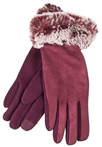 Fur Cuff Gloves - True Gear North Women's Fuzzy Faux Fur Smartphone Touch Gloves (Red)