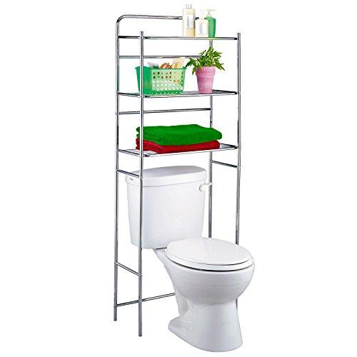 Tatkraft Tanken 3-Tier Over the Toilet Shelf Storage Bathroom Shelf Space Saver Chrome Steel 23.4 X 10.2 X 59.6 inch by Tatkraft
