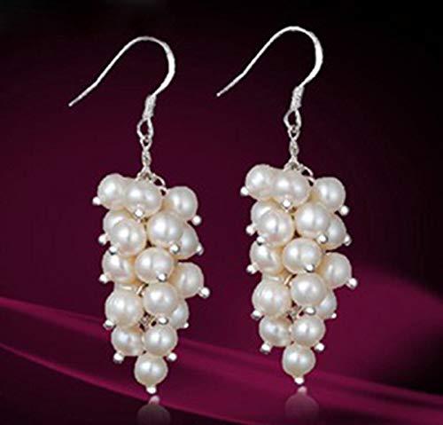 FidgetFidget Genuine White Cultured Freshwater Pearl Cluster Dangle Sterling Earrings