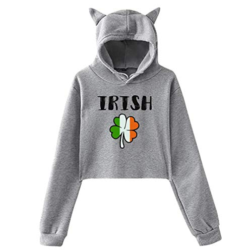 (ManIron Womens Girls Cat Ear Pullover Hoodie Irish Shamrock Crop Top Sweatshirts GrayX-Large)