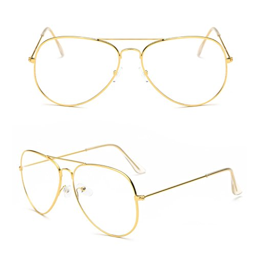 Doober Large Fashion Retro Metal Clear Lens Glasses Designer Tear Drop Frame Eyeglasses (Gold, (Gold Teardrop Frame)