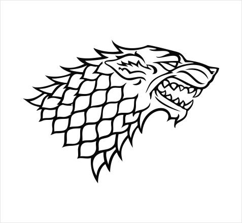 Game of Thrones House Stark Grey Direwolf Emblem Vinyl Die