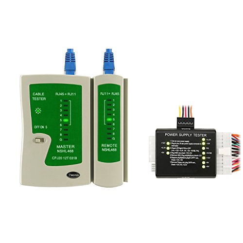 Everydaysource ATX SATA HDD 20 24 Pin Power Supply Tester+RJ45 RJ11 Cable Tester (Kit Tool Testers Open Source)