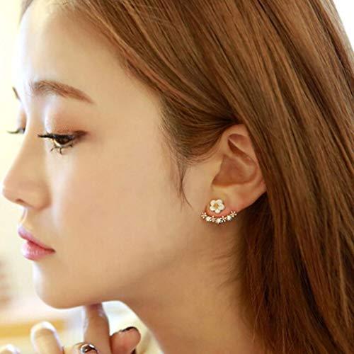 Elogoog Fashion Small Daisy Flower Earrings Crystal Simple Chic Stud Earrings Women Girls Jewelry Gift (Gold)