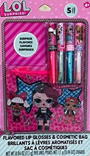 L.O.L Surprise 5 Pieces Flavored Lip Glosses & Cosmetic Bag Gift Set