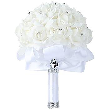 Amazon faylapa 3 rustic wedding bouquet burlap flowers bouquets wedding bouquet febou big size white bridesmaid bouquet bridal bouquet with crystals soft ribbons junglespirit Choice Image