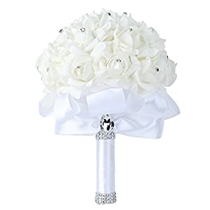 Febou Wedding Bouquet, Big Size White Bridesmaid Bouquet Bridal Bouquet with Crystals Soft Ribbons, Artificial Rose Flowers for Wedding, Party and Church (White-Bigger Size) 40