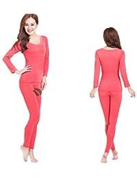 Lanbaosi Women's Lace Stretch Seamless Top & Bottom Long Johns Thermal Underwear Set